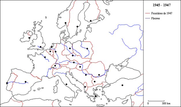 European Borders - Central europe map 1945