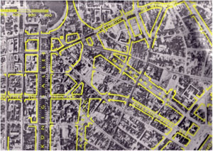 Destruction after WWII and plans of the inner-city: New traffic routes, easier traffic regulations and a car-friendly city