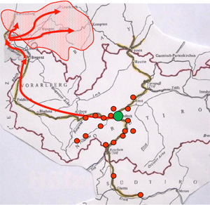 The following map shows the municipalities of origin and the path to Swabia