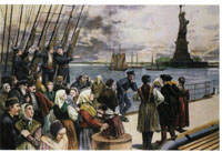 A colour engraving depicting a ship of immigrants arriving at New York