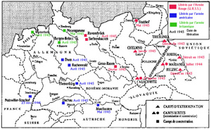 Map of the liberation of Nazi camps by the Allies