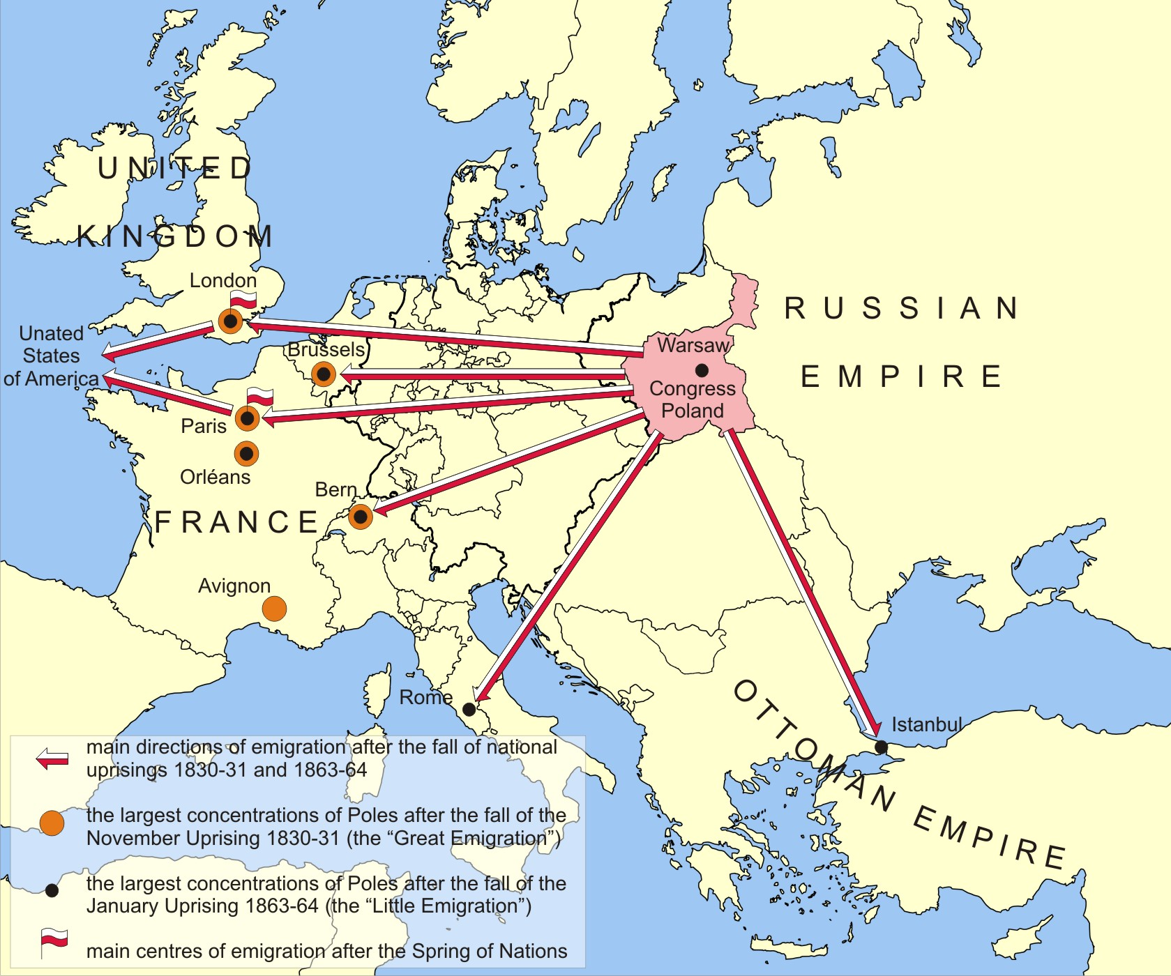 Polish Political Emigration In The Nineteenth Century - Poland political map
