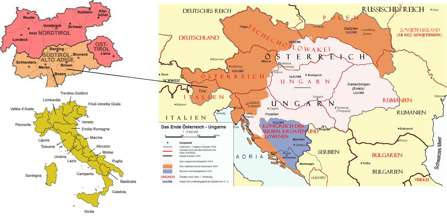 The Separation Of South Tyrol From Austria And The Option - Map of austria and italy
